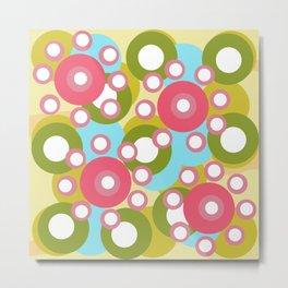 Vintage 70s Rotating Circles - Yellow Pink Metal Print