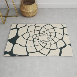 Organic Shapes in a Spiral, Cream on Charcoal Gray Rug