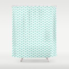 Aqua Blue Lipstick Kisses on White Shower Curtain