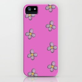 Purple Flower on Pink Pattern iPhone Case