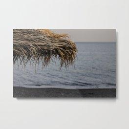 Black Sand - Santorini Beach  Metal Print