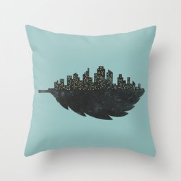 Leaf City Throw Pillow