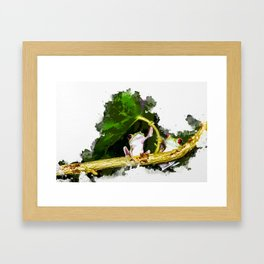 Two Frogs Under a Leaf Framed Art Print