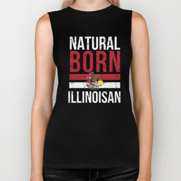 IL Illinois Native Gift for Home State Pride Residents from Chicago, Aurora, Rockford Biker Tank