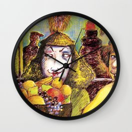 Fruit Hats and Feathers Wall Clock