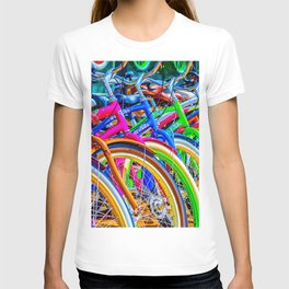 Colorful bicycles in a row T-shirt