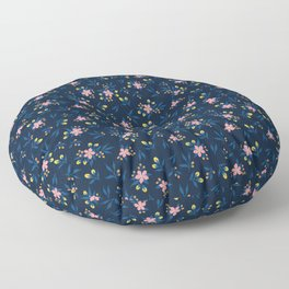 Pink Florals on Blue Floor Pillow