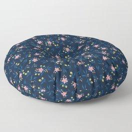 Pink Florals on Blue Floor Pillow