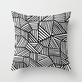 Black Brushstrokes Throw Pillow