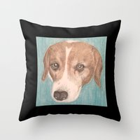 beagle Throw Pillows featuring Beagle by Thomas Whitfield