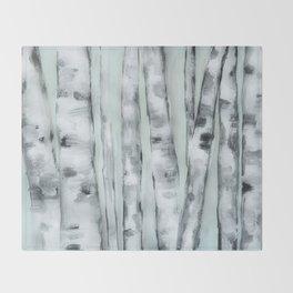Birch trees in winter Throw Blanket