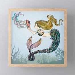 Jellyfish and Mermaid Framed Mini Art Print