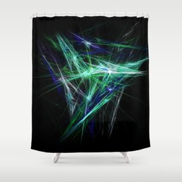 Green light beam Shower Curtain