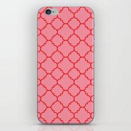 Quatrefoil - Pink & Red  iPhone Skin