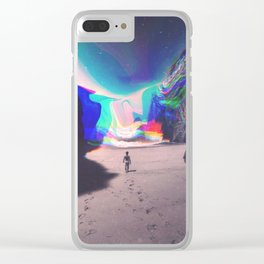Rainbow Waves Clear iPhone Case