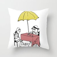 tarot Throw Pillows featuring Tarot Reader by hannah koslosky