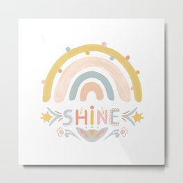 Cute rainbow l shine lettering | bright kids artwork with folk elements Metal Print