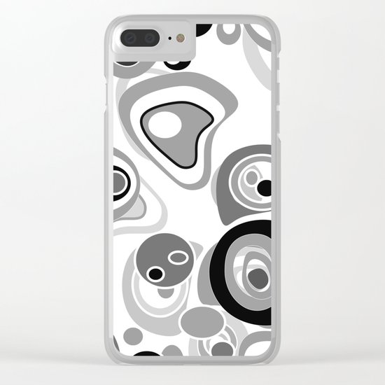 Abstract black white gray polka dot pattern 2 Clear iPhone Case