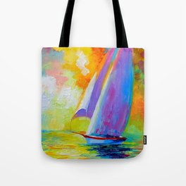 Sailboat in the sea Tote Bag