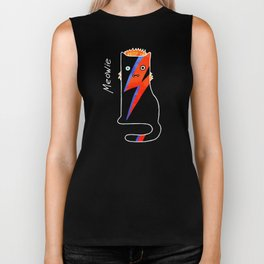 Cat Meowie likes music and life on Mars Biker Tank