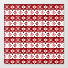 Red Fair Isle Christmas Sweater Snowflakes Pattern Canvas Print