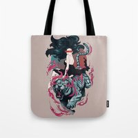 beauty and the beast Tote Bags featuring Beauty and the Beast by Artemple