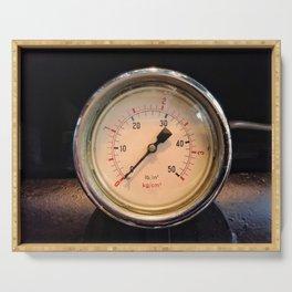 measurement - vintage industrial pressure meter Serving Tray