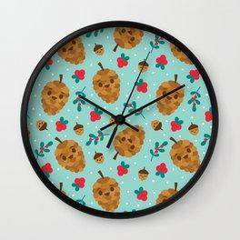 Pinecone + Acorn Surface Patten Design / Blue Wall Clock