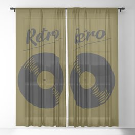 Retro record music logo Sheer Curtain