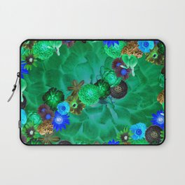 Flower explosion in green and blue Laptop Sleeve