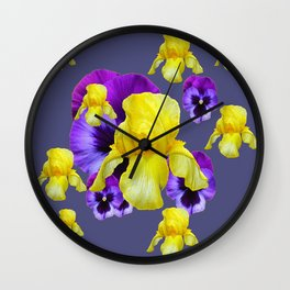 COLLAGE OF CHARCOAL GREY PURPLE PANSIES YELLOW IRIS Wall Clock