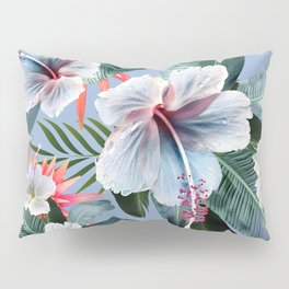 Hawaii, tropical hibiscus vintage style blue dream palm leaves Pillow Sham