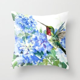 Hydrangea Flowers and Ruby Throat Hummingbird Throw Pillow