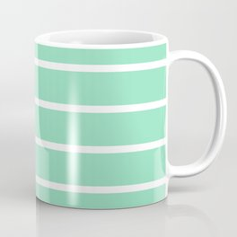 Horizontal Lines (White & Mint Pattern) Coffee Mug