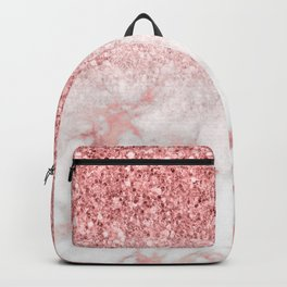 Rose-gold faux glitter and marble ombre Backpack