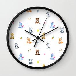 Cute pink blue orange watercolor animal pattern Wall Clock