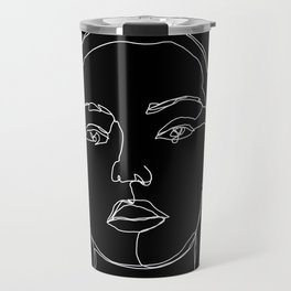 Face one line black and white illustration - Coco Travel Mug