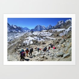 Trekking in Himalaya. Group of hikers  with backpacks   on the trek in Himalayas, trip  to the base  Art Print