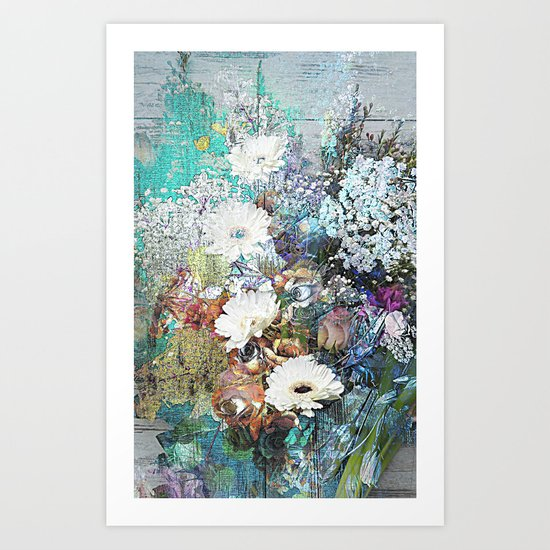 Shabby Chic impressionistic colorful floral Art Print