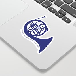Blue French Horn Quote Sticker