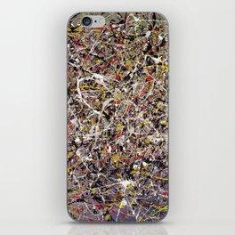Intergalactic - Jackson Pollock style abstract painting by Rasko iPhone Skin