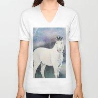 medicine V-neck T-shirts featuring Medicine Hat by LaurelAnneEquineArt