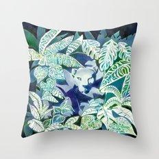 Jungle Jaguar Cat water colour illustration Throw Pillow