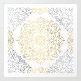 Gold Silver Mandala Pattern Illustration Art Print