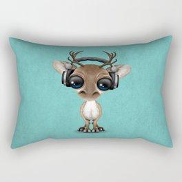 Cute Musical Reindeer Dj Wearing Headphones on Blue Rectangular Pillow