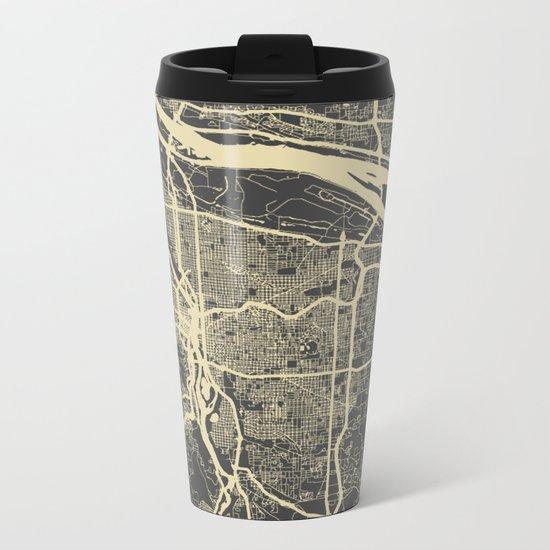 Portland Map Metal Travel Mug