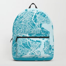 Boston City Map | Massachusetts - United States | Blue & Cyan | More Colors, Review My Collections Backpack