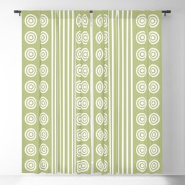 Geometric Stripes and Circles - White on Summer Fresh Lime Green Blackout Curtain