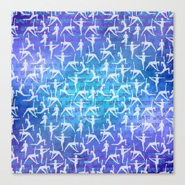 Yoga Asanas pattern on watercolor purple and blue Canvas Print