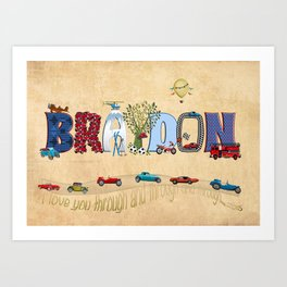 BRAYDON / personalised name illustration Art Print